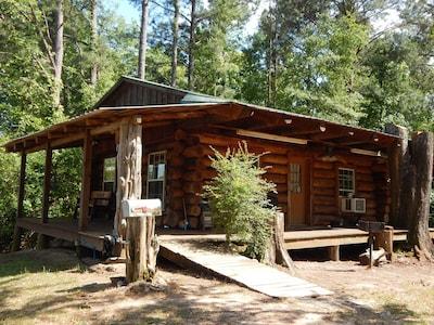 Rustic Log Cabin with fishing.