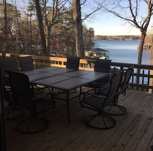 Deck with a table for 8