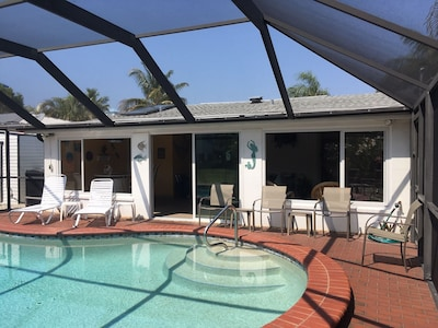 From the pool you can see into the Florida Rm through the windows & sliding door