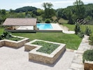 Views of pool & garden from the gite