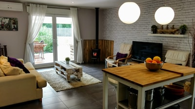 wood burning stove & living space