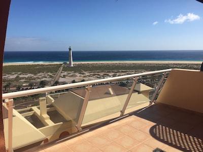 Blick auf den Strand von der Terrasse