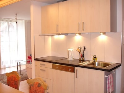 Top modern kitchen with oven, wash machine, micro wave and electrical cooker.