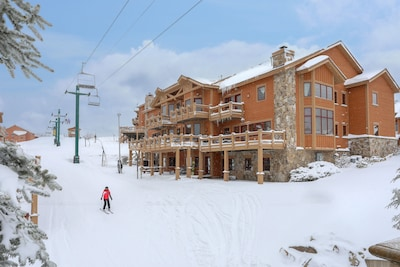 Rear view of townhouse. True ski-in and ski-out!
