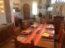 Dining room table seats 6 comfortably.