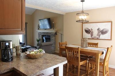 Main floor (open concept) kitchen, dining, living