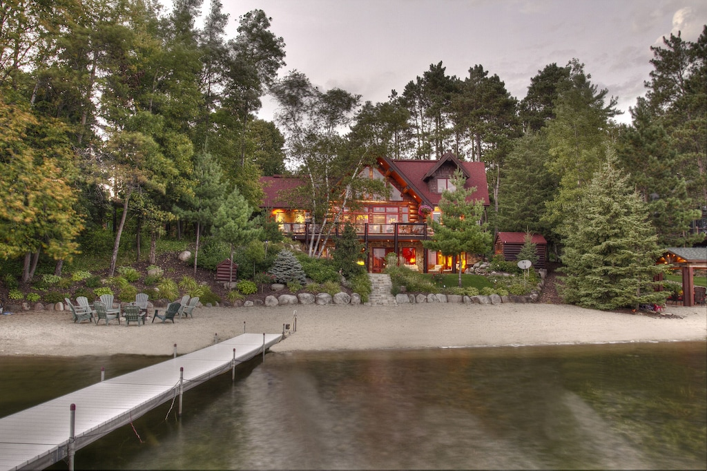 Family Friendly Hand Scribed Log Cabin With Gourmet Kitchen Perfect Sand Beach Pequot Lakes