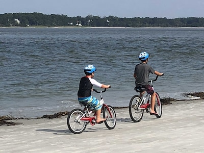 biking at low tide