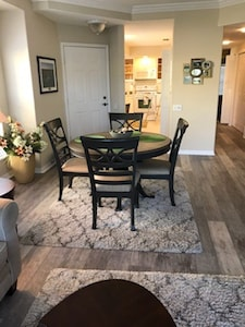 Living Room looking to Dining area and kitchen