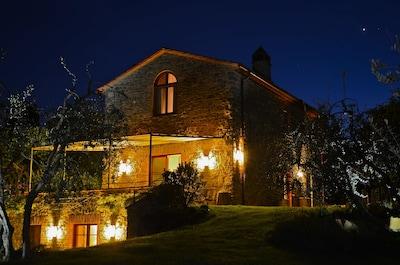 Geniessen Sie ein Glas Wein bei tollem Ambiente am Abend im beleuchteten Garten.