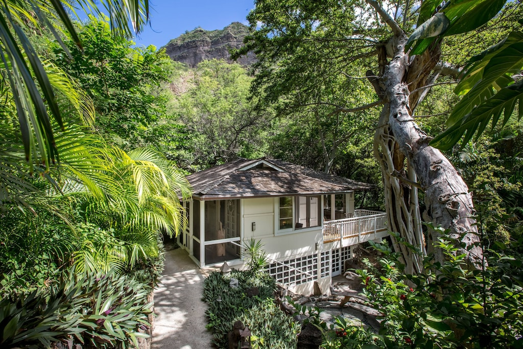 Treetop Oahu Airbnb built into a ravine