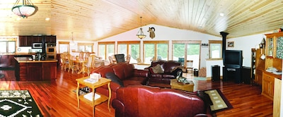 Main Lodge Room w/kitchen, living room, sun room & dining room w/3 large tables