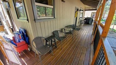 Covered front deck with BBQ, Outdoor seating, beach chairs