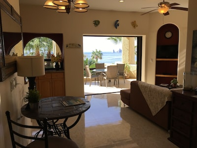 Spacious living room with unobstructed view of Sea of Cortez and  Cabo's Arch.