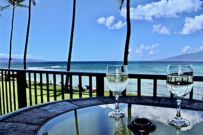 Picture yourself here - view of the islands of Lanai & Molokai over lanai table