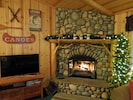 Wood Burning Fireplace and Smart TV