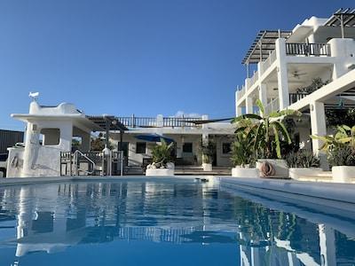 View end pool looking back at villa