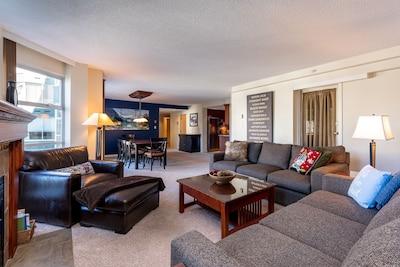 Living room, 2 sofas, one is queen sleeper