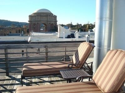 Relax on deck; view of Palace of Fine Arts