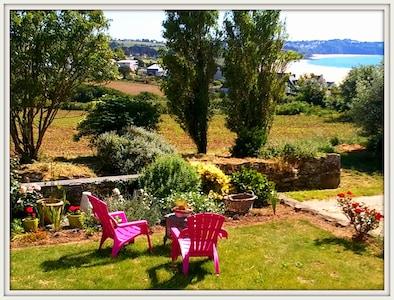 jardin sud devant maison - accès plage