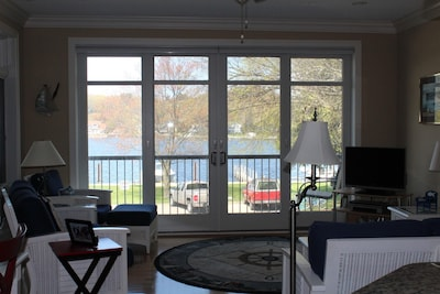 View of Pentwater Lake from the open living/dining/kitchen area!