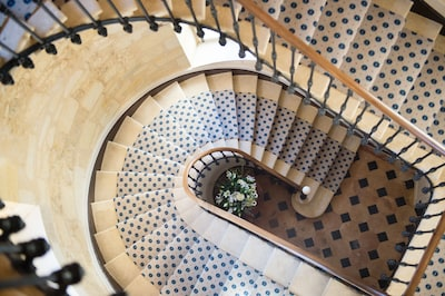 Stunning staircase in one of the 3 towers