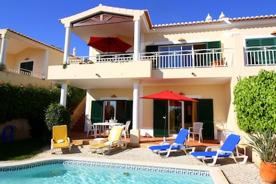 Private pool, south-facing sun patio with loungers and another table & chairs