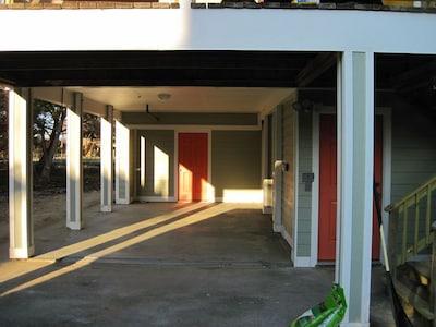 Carport and door to laundry room