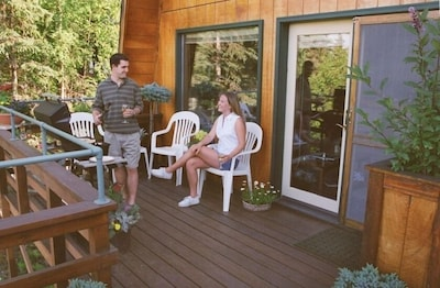 Relax on your deck overlooking the Kenai River
