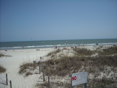 Soft sand for sunbathers and packed sand near water for biking/walking.
