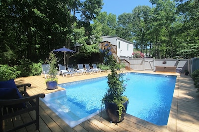 View from pool towards house