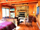 Stone fireplace in the Master Bedroom