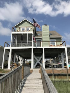 Back of house from dock. New cable railing system opens up the views.