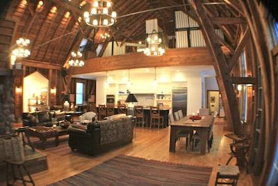 Main living area, viewing upstairs loft