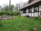 Gartenbank auf Blumenwiese