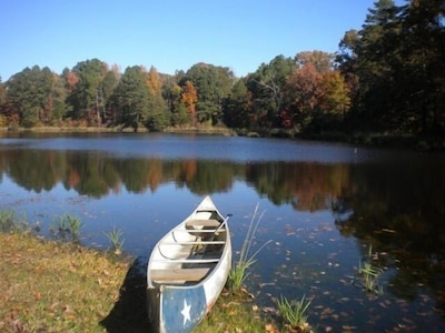 Beautiful stocked 4 acre pond behind Pine Grove Cottage.