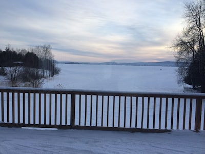 Winter view of lake from deck.