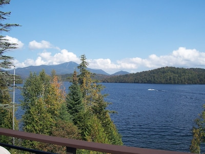 The view of Whiteface Mountain & Lake Placid from our deck - just gorgeous!