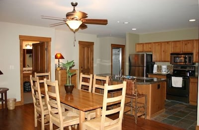 Open Floorplan of Dining Room/Kitchen  is Perfect for Après-ski