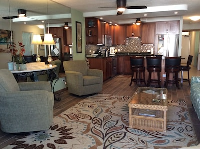 New updated living room  area and kitchen appliances