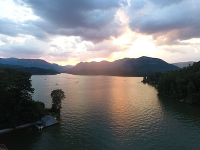 Sunset view directly above our dock taken with our friend's drone