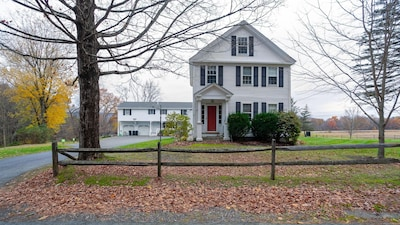 Enjoy an updated 1792 charming, large and warm farmhouse in historic Walpole NH