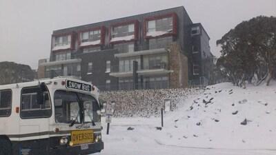 Free winter village shuttle bus at the door