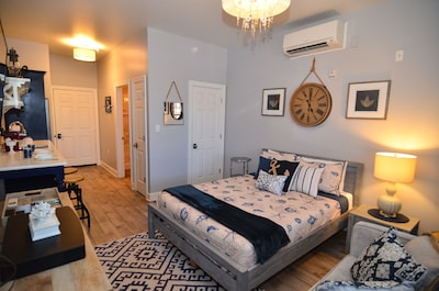 Open studio with plush queen bed perfect for two