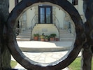The villa front entrance through the gate!