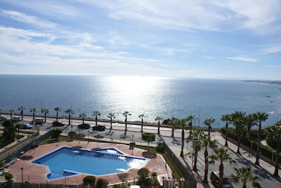 picture swimming pool from comm. roof solarium