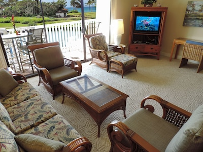 Spacious great room with beautiful ocean and lagoon view.