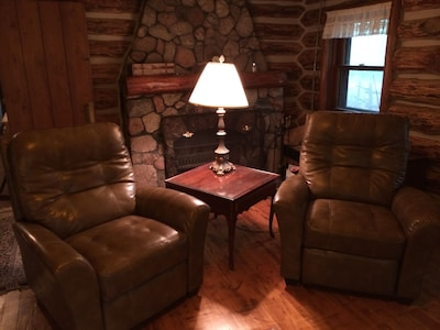 Easy chairs in the log cabin!