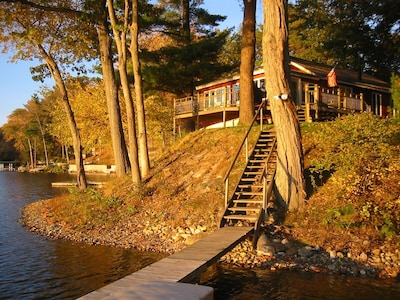 Golden Time on the Lake. View of the Cottage from the Dock