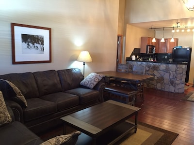 New furniture,hardwood, lighting and rock